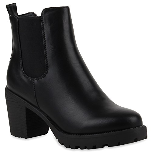 Damen Stiefeletten Chelsea Boots Blockabsatz Profilsohle Schuhe 110681 Schwarz Glatt 38 Flandell