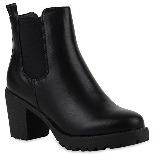 Damen Stiefeletten Chelsea Boots Blockabsatz Profilsohle Schuhe 110681 Schwarz Glatt 37 Flandell