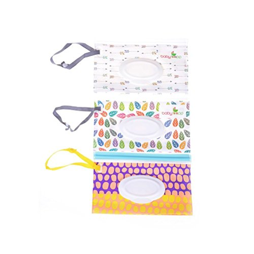 1 bolsa de viaje para toallitas húmedas para bebé, funda de viaje recargable, dispensador portátil, funda de viaje, patrón al azar 3pcs