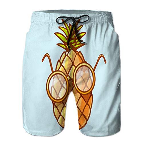 jiilwkie Costume da Bagno da Uomo Pantaloncini da Spiaggia Pantaloncini Casual in Poliestere Colorato Nerd xuxuxu con Occhiali su b XL