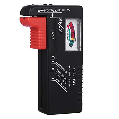 UKCOCO Comprobador de batería doméstica, probador de batería universal para pilas AA AAA C D 9V 1.5V pilas de botón (modelo: BT-168)