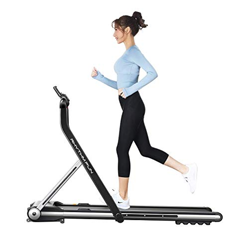 RHYTHM FUN Treadmill Folding Running Treadmill Under Desk Walking Pad Treadmill with Foldable Handtrail Wide Tread Belt Super Slim Mini Quiet Home Treadmill with Smart Remote Control and Workout App