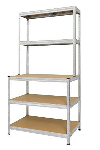 Estanter/ía con 5 estantes Hans 13501075 Schourup madera DM, capacidad para hasta 275 kg por estante, 180 x 90 x 45 cm, galvanizada