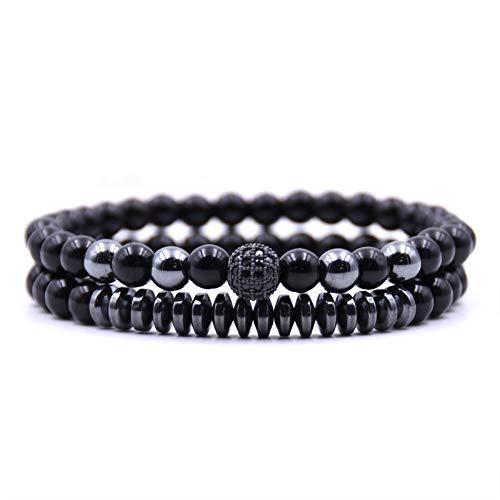 Armband van natuursteen met parels, zwart glanzende parelarmband 8 mm, armband van zwarte natuurstenen met natuursteen, gepersonaliseerd kledingaccessoires.