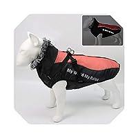 取り外し可能なハーネスが付いているペットのの襟の防水コートのための冬の大きい犬の衣服のジャケットフレンチブルドッグのパグの服t-Red-XXL