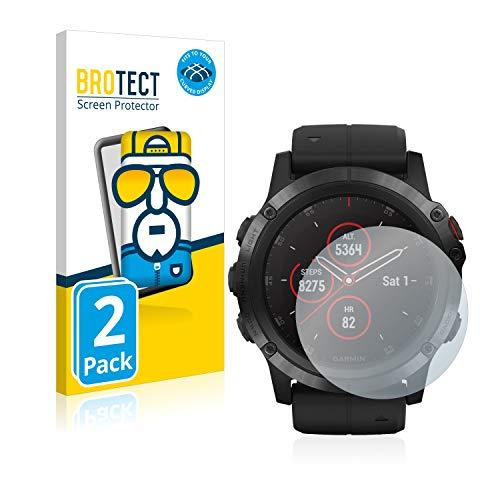 BROTECT Full-Cover Schutzfolie kompatibel mit Garmin Fenix 5X Plus (51 mm) (2 Stück) - Full-Screen Bildschirmschutz-Folie, 3D Curved, Kristall-Klar
