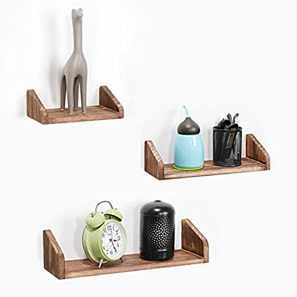 RZChome Floating Shelves Wall Mounted Set Of 3 Wall Mounted Rustic Metal Wire Storage Shelves Decorative Wall Shelf Display Rack Collecting Holder Wall Hanging For Living Room Bedroom Bathroom