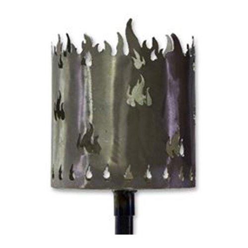 osters muschel-sammler-shop Gartenfackel auf Stecker, aus Metall, Höhe: 128 cm, Ø 15cm, INKL. 2 Holzbrennelementen - Metall Gartenfackel (Flamme)
