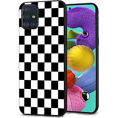 Compatible with Galaxy A51 4G Case,Soft Silicone Rubber Bumper Case Shockproof Full-Body Protective Case Cover for Samsung Galaxy A51 4G 6.5',Black Checkered Pattern