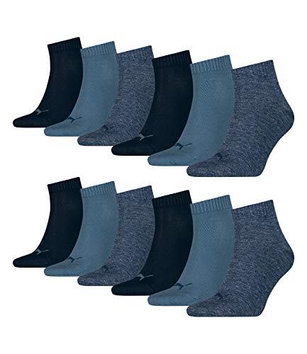 12 Paar PUMA Quarter Sportsocken (Kurzsocken) für Damen und Herren im Vorteilspack (Denim Blue, 39/42)