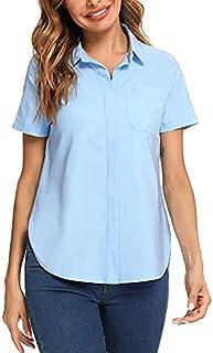 Irevial Blusas Verano Mujer Trabajo Camiseta Manga Corta Elegante Camisa con Bolsillo Shirt Basic para Oficina Azul Claro, XL