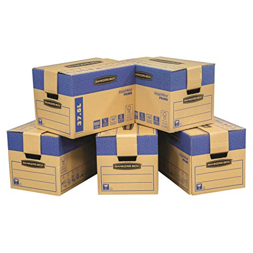 BANKERS BOX 5 SmoothMove Prime Heavy Duty Double Wall Cardboard Moving and Storage Boxes with Handles Tape Free Assembly and FastFold Automatic Pop Up Set Up, 37.5 Litre, 30 x 30 x 40.5 cm, 5 Pack