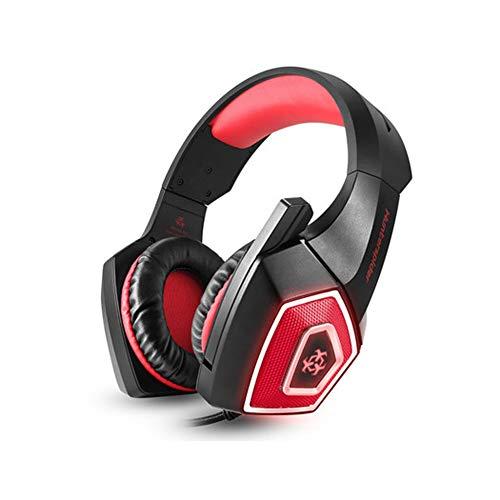 NQO - Auriculares de juego RGB con cable luminoso, casco de reducción de ruido estéreo, 40 mm, bobina móvil grande