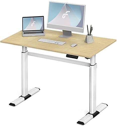 Fenge Escritorio eléctrico regulable en altura con tablero de 110 x 60 cm, mesa regulable en altura con 4 memorias programables preajustes (marco blanco y escritorio amarillo)