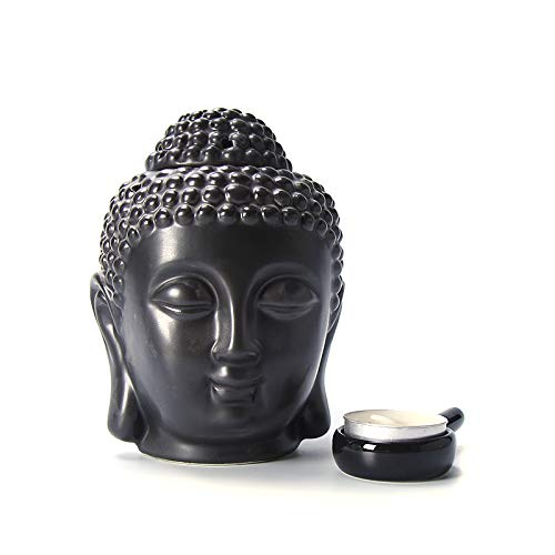 Peaceful Buddha Head Candle Ceramic Oil Burner Ceramic Aromatherapy Furnace Essential Oil Burner-Candle Aroma Lamp(Black)
