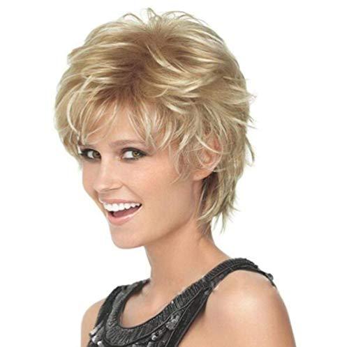 LQ&XL Perruques Courtes Cheveux Naturels Bouclés Ondulés Synthétique Résistant à La Chaleur Blond Doré De Haute Qualité Comme Humains Mode Charmant Pour Femme Cosplay Halloween A/A