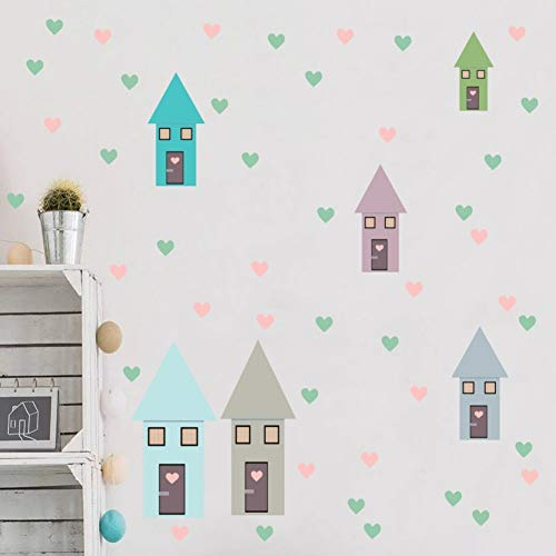 Behang Muurstickers Decals Bright&Pale Tone Twee Stijl Cartoon Huis Hart Kwekerij Decals DIY Home Decor Waterproof25×54Cm