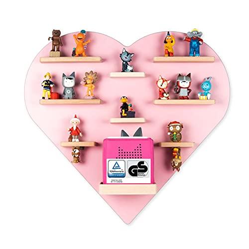 BOARTI das Original Kinder Regal Herz in Rosa TÜV/GS-Zertifiziert - geeignet für die Toniebox und ca. 38 Tonies - zum Spielen und Sammeln