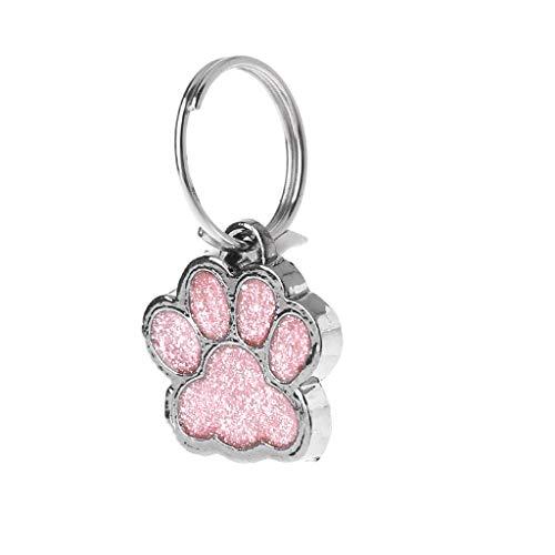 Cadania Haustier-Kragen-Umbau-glänzender Glitter-Tatzen-Form-Haustier-Hundekatzen-Identifikationstag-Keychain mit Ring - Rosa
