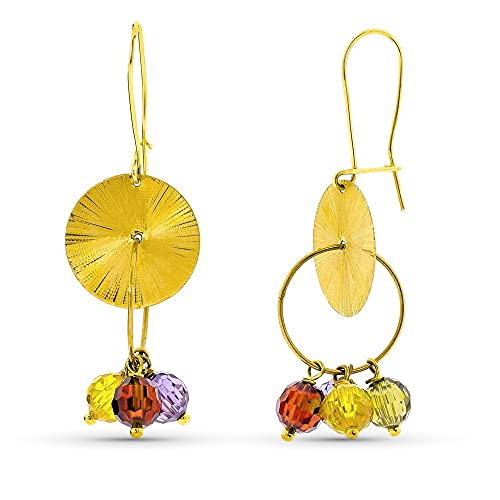 Pendientes oro 18k mujer largos chapa tallada combinada piedras color