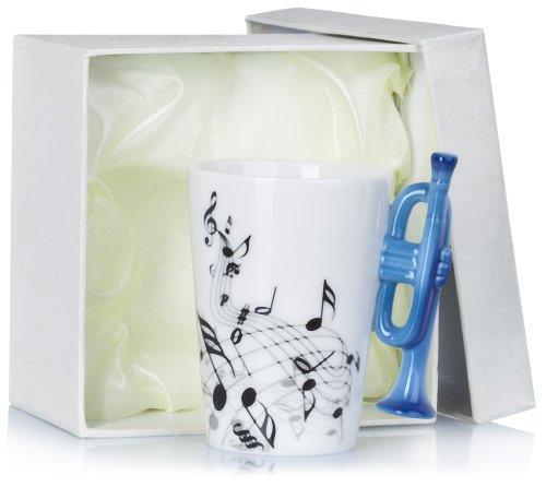 Grinscard Keramiktasse mit Motiv Henkel - Weiß & Bedruckt Trompete Design 0,2l - Tee & Kaffee Tasse zum Verschenken