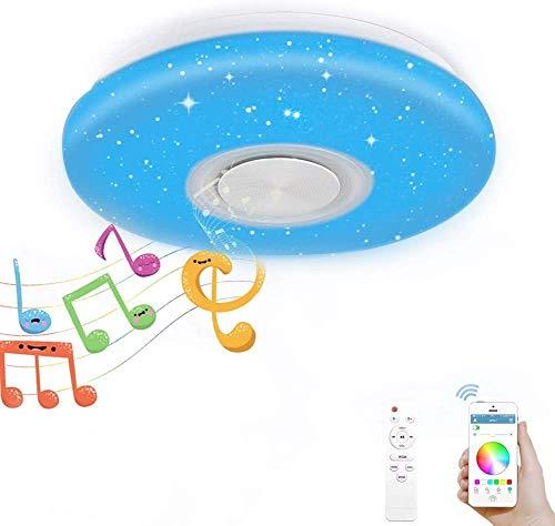 LED Musik Deckenleuchte, Regenbogenlicht, 36W Musik Deckenlampe mit Fernbedienung und APP, Nachtlichtfunktion, Farbwechsel-Option für Kinderzimmer Schlafzimmer Kinder Geschenk