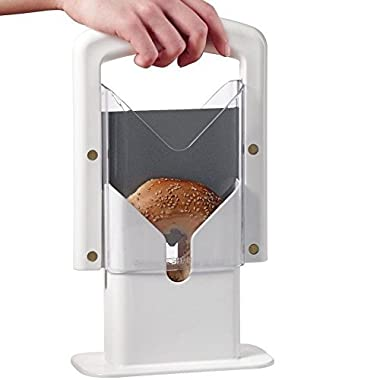 White Plastic and Stainless Steel Bagel Slicer Guillotine High End Koozam Products