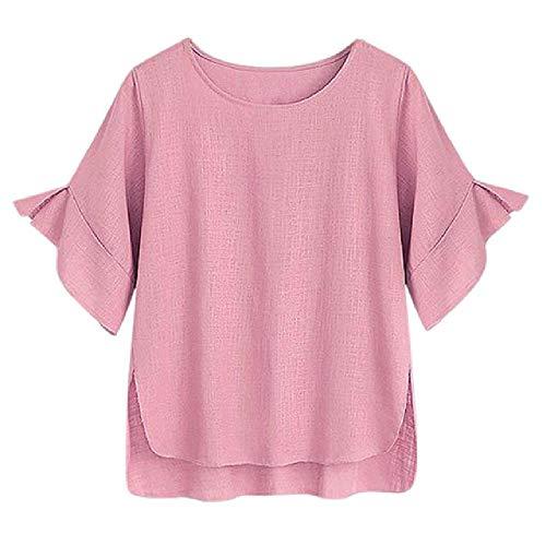 Blusas Mujer Casual Tallas Grandes de Lino de algodónCamisa Lisa de MangaCorta SueltaBlusa Top