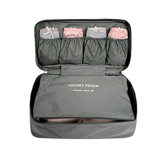 FunYoung Unterwäsche Aufbewahrungstasche – Wasserdichtes Nylon Reisetasche Sockentasche Kulturbeutel Farbwahl (grau)