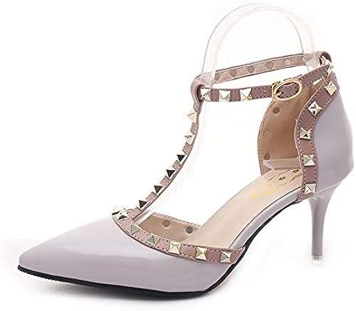 HOESCZS Talons Hauts Printemps Nouveau Mode Pointu Rivet Boucle De La Mode Dames à Talons Hauts Stiletto Chaussures Femme Chaussures Simples