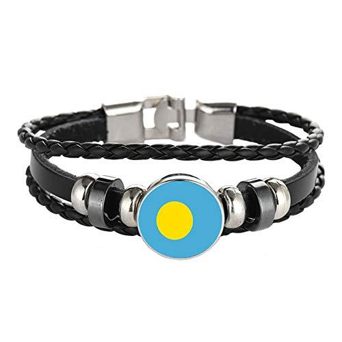 Armband im Nationalflaggen-Stil, kreatives Palau-Reise-Souvenir, Geschenk, personalisiertes gewebtes Armband, Zubehör für Damen und Herren