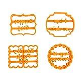 Stampo per biscotti, 4 pezzi, con lettere divertenti in silicone, rotondo, per dolci, cioccolatini