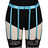 BANSSGOTH Cintura per reggicalze da donna Cintura per reggicalze per coscia gotica Punk Cintura per reggicalze Cintura regolabile per cintura con 8 clip (Cielo blu)