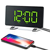 Alarm Clocks 【2021 New Version】 for Bedrooms with FM Radio, Dual Alarms, 6.7'' LED Screen, USB Port for Charging, 4 Brightness, 12/24H, Automatic Dimmer, Digital Alarm Clock for Snooze Kitchen Office