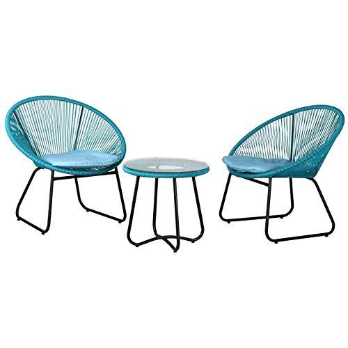 AubryGaspard Salon de Jardin 3 pièces en rotin synthétique Bleu