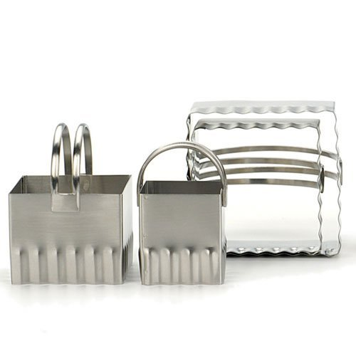 RSVP International Endurance Biscuit Cutters, Rippled Square Set of 4, Stainless