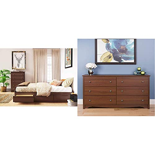 Prepac Mate's Platform Storage Bed with 6 Drawers, Queen, Cherry & Monterey 6 Drawer Dresser, Cherry