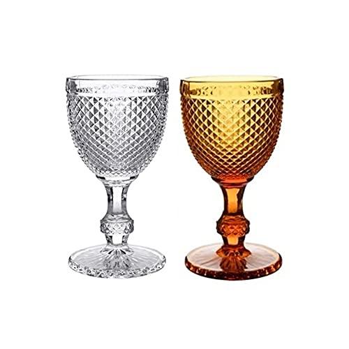 Iinger Mini Diamonds Relieve Vino Copa Copa Copa 2 PCS/Lote Color Jugo Retro Taza de Bebida Copa de Boda Copas de Vino de Fiesta 300ml (Capacity : 300ml 10zo, Color : F)