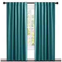 NICETOWN Living Room Blackout Draperies - (Sea Teal Color) W52 x L84, 2 Pieces, Room Darkening Window Blackout Drape Panels