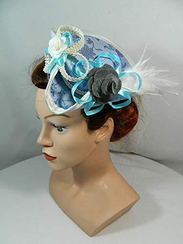 Mini Dreispitz blau Brokat Marie Antoinette Barock Rokoko Western Headpiece Haarschmuck Dirndl...