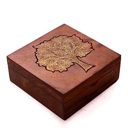 Hashcart Handcarved Jewelry Box with Hinged Lid   Decorative Desk Organizer...