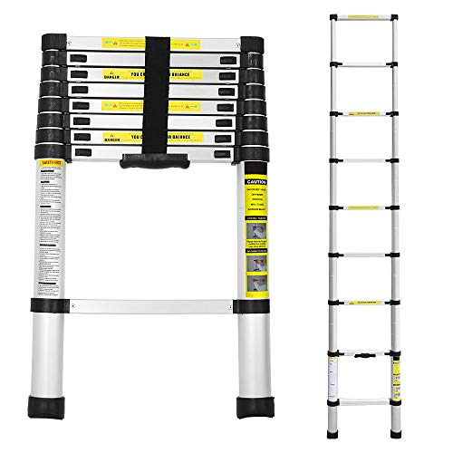 Hengda Escalera telescópica de 2,6 m, de aluminio, antideslizante, extensible, plegable, multiusos,...