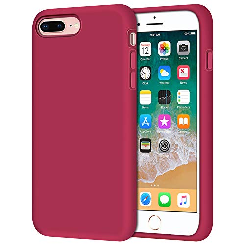 Anuck Case for iPhone 8 Plus Case, for iPhone 7 Plus Case 5.5 inch, Soft Silicone Gel Rubber Bumper Case Microfiber Lining Hard Shell Shockproof Full-Body Protective Case Cover - Rose Red