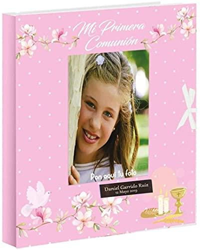 Libro de comunión para firmas y Fotos, Personalizado con Placa grabada con Nombre y Fecha (Rosa Caliz)