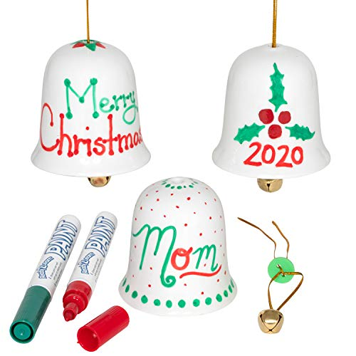 READY 2 LEARN-CE10022 Christmas Crafts - Design Your Own Porcelain Bells - Set of 3 - Craft Kit for Kids - Christmas Tree Decorations - All Materials Included