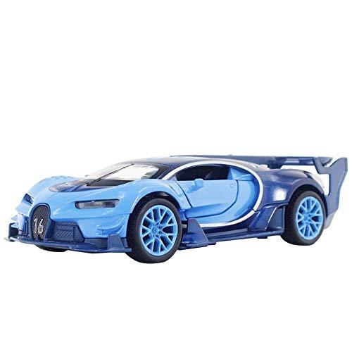 Zerodis 1:32 Bugatti GT Zurückziehen Automodell Spielzeug Simulation Automodell Sound Licht Sammlung Auto Kinder Auto Spielzeug Urlaub Geschenk (Keine Batterie)(Blau)