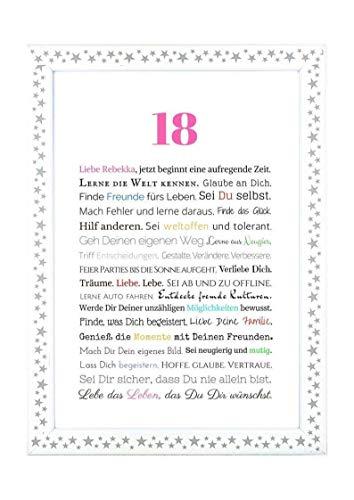18. Geburtstag – Geschenkidee zur Volljährigkeit – Personalisiertes Bild mit Rahmen – Geburtstagsgeschenk für Mädchen/Frauen oder Beigabe zum Geldgeschenk, Kunstdruck, DIN A4 - 3