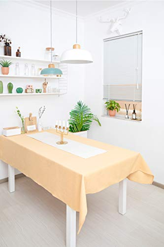WOMGF Mantel Antimanchas Rectangular Mantel para Mesa de Cocina o Salon Lavable Diseno de Comedor Decoracion del Hogar 130x170cm Amarillo