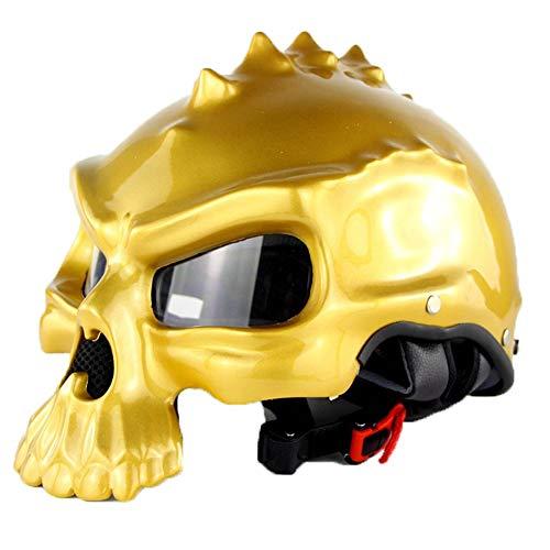 QPFH Schädel Motorradhelm, Dual Use Half Face Retro Classic Motorradhelm, Adult Rider Schutzausrüstung für Männer & Frauen,Gold,XXL