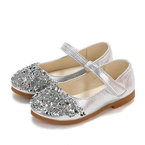 TFMus Kleinkind Mädchen Sparkle Glitter Party Kleid Schuhe Low Heel Mary Janes Schuhe Infant Princess Schuhe Hochzeit Schuhe Tanz Ballsaal Latin Schuhe (26,Silver)